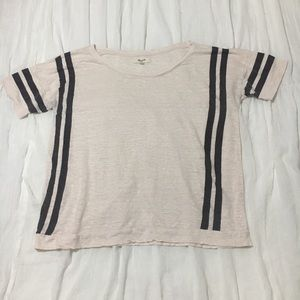Madewell Light Pink Tee w/stripes - Small